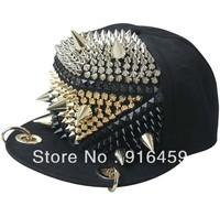 Promotion Free shipping Square with sharp fighter jets Black PUNK Hiphop baseball snapback Rivet Spike studded Dance Cap hats
