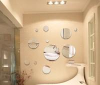 Hot sell mirror decorative wall sticker,15CM circular 5 pieces,wall art backdrop,unique quotes home decoration