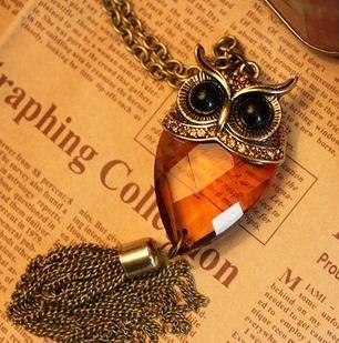 2013 Fashion Jewelry Charm Retro Vintage Small Luxury Glass Owl Tassel Necklace Women Surprise Gift