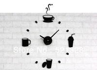 Free shipping Living Room Kitchen Bar studio Decorative wall clock DIY Mute Creative Coffee cup wall clock F187