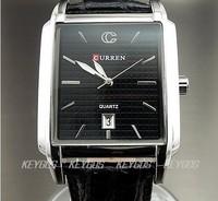 WH043 NEW 2012 GENTTLEMEN CLOCK QUARTZ HOURS DIAL DATE BLACK LEATHER MEN WRIST WATCH