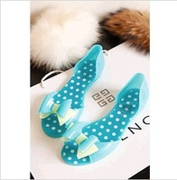 Fashion women Bow sandals slippers plastic open toe flat jelly shoes candy sandals lady summer boots