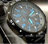 WH151 NEW 2012 WHOLESALE SPORT WATER QUARTZ HOURS DATE HAND BLUE DIAL CLOCK MEN STEEL WRIST WATCH