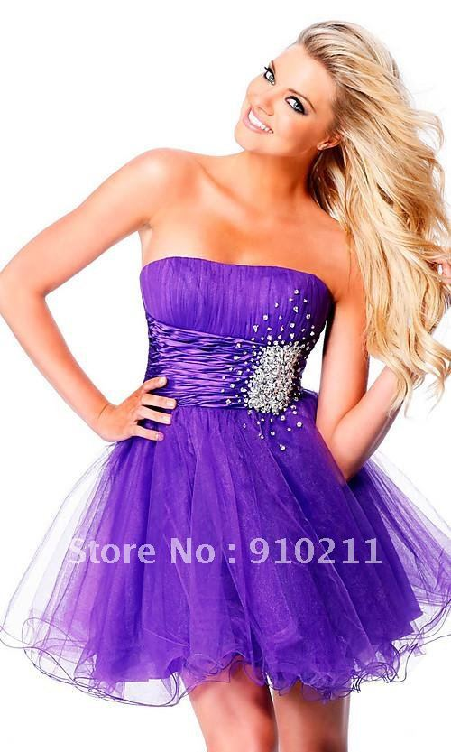 Free Shipping/Incredible Custom Made 2013 Purple strapless tulle semi-formal dress 2013 Newest Homecoming Dress(China (Mainland))