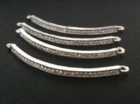 Wholesales 55mm*2mm Diy Bling Skinny Sideways Rhinestones Curved Tubes Bars For Bracelets Making  Free Shipping