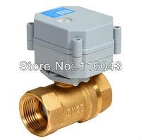 AC/DC9-24V 1'' brass full port 2 way motor control valve NO/NC 1.0mpa medium temperature 0-90 degree C for HVAC fan coil systems