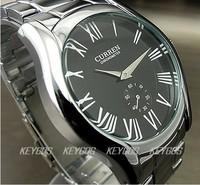 WH203 NEW 2012 WHOLESALE HOURS CLOCK LUXURY SPORT MEN FASHION SILVER BLACK STEEL WRIST WATCH