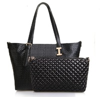 Free shipping,New woman's fashion casual style leather  2013 IPOLO lash grid handbag Stylish Genuine leather women handbag