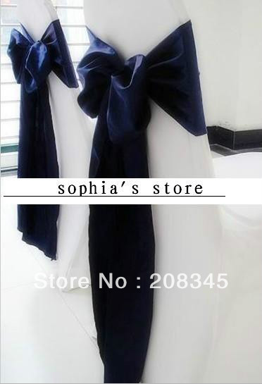 free shipping by DHL /wholesale high quanlity navy color wedding satin chair cover sashes/same as picture(China (Mainland))
