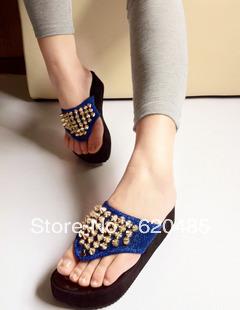 2013 fashion punk rivet platform casual female sandals shoes flip flops sandals