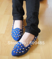 Free shipping 2013 female rivet  shallow mouth shoes flats velvet flat single shoes women's shoes