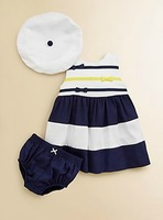 2013 New style  baby Girl's short sleeves navy dress,3pcs set striped tutu Dress+hat+shorts,Children summer clothes
