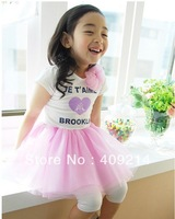 wholesale 5 pcs/ lot,children clothing dress,heart lace girl party dress ,2 color,0.6 kg