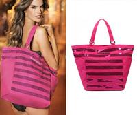 Free Shipping 2013  rose pink sequins canvas bag shoulder handbag bag beach bag for women ladies