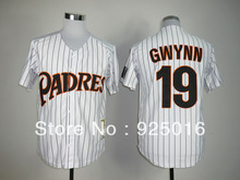 free shipping , baseball jersey San Diego Padres #19 Tony Gwynn white stripe Jerseys , Embroidery logos,can mix order(China (Mainland))