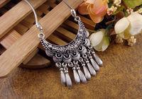 NR111 Bohemian Carved Flower Moon Pendant Tibetan Silver vintage retro Choker Collar Necklace jewelry for Women Girl