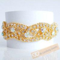 New Arrival ! Free Shipping Fashion Gorgeous Golden Rhinestone Bangle Bracelet Luxury