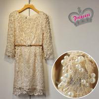 Asuka high quality warfactory beading gold crochet lace elegant classic luxury princess one-piece dress