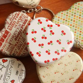 zakka japanese style fashion cute pretty Heart tin keychain 12 pillaring mini Small tin iron leather box