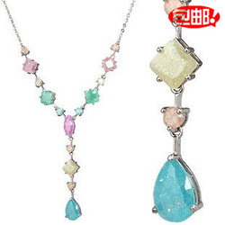 New year gift rhombus flower necklace crystal luxury zircon quality(China (Mainland))