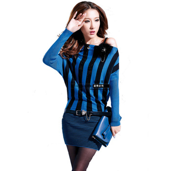 Baby 2013 spring fashion knitted sweater vertical stripe long-sleeve dress with belt