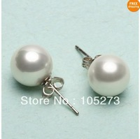 Wholesale Pearl Jewelry Natural 10mm Round White South Sea Shell Pearl 925 Sterling Silver Stud Earrings New Free Shipping