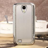 Silver Aluminium Luxury Brush Crystal Hard Case Cover For  Samsung S4 i9500+flim