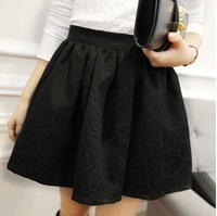 Free Shipping 2013 spring embossed jacquard puff skirt autumn and winter short skirt pleated skirt