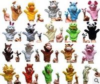 Free ship 20pcs hand puppet and 20pcs  finger puppet set parent-child toys plush toys animal puppets