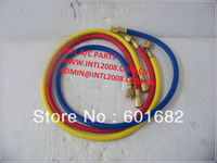 "R134a premium charging hose with 1/4"" SAE Fitting high quality for Manifold 3 color 3 pcs  72"""