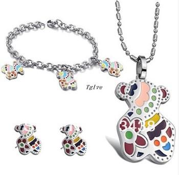 1 set Fashion women jewelry set Stainless Steel colorful Cute Teddy Bear pendant necklace&bracelet&earring ,  fiancee wife gifts
