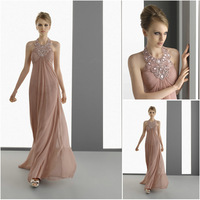 E0166 Halter beaded long chiffon wedding party dress