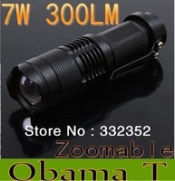 wholesale and Retail Mini LED Torch 7W 300LM CREE Q5 LED Flashlight Adjustable Focus Zoom flash Light Lamp free shipping