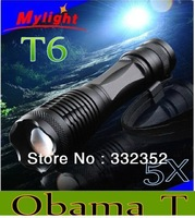 Free shipping 5pcs/lot 1800 Lumen Zoomable CREE XM-L T6 LED 18650 Flashlight Torch Zoom Lamp Light E5 L113
