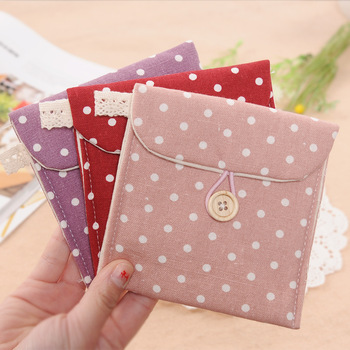 Fresh 3081 polka dot fluid sanitary napkin storage fabric sanitary napkin bag sanitary napkin bags