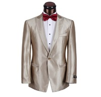 Hot-selling champagne color suits wedding banquet male formal dress glossy slim 1 buckle men's clothing suit