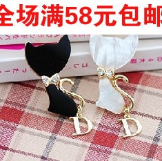 090042 popular shell bow cat brooch corsage small accessories