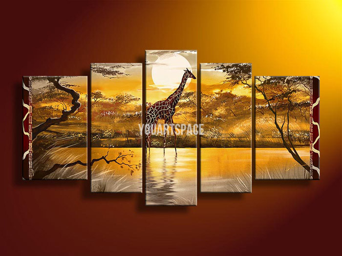 5 Panel Wall Art African Abstract Giraffes Oil Painting On Canvas Hand Painted Bathroom Picture No Frames Artwork(China (Mainland))