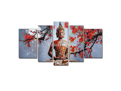 5 Panel Wall Art Religion Buddha Oil Painting On Canvas Orient Kitchen Pictures Decor(China (Mainland))