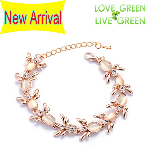 Free shipping New arrival wholesale Human Made Cat Eye Euphorbiae Material 18K Gold plated Chain Bracelet fashion jewelry 2900(China (Mainland))