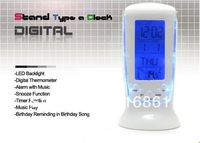 Hot Sell wholesale Digital Alarm Clock with Thermometer and Blue Back Light Display White