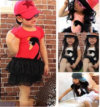 Free Shipping 5pcs/lot Girls Dress Swan Tutu Shortsleeve T Shirt Dress 100-140cm