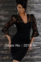 Promotion + free shipping 7 Points Hubble-bubble Sleeve V-neck Lace Package Hip Fashion Dress