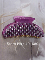 Clear purple Plastic with faux crystal Hair Claw for Lady
