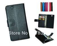 Wallet PU Leather Case For Sony L36H  Xperia Z Stand Design