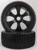 1/8 buggy tires 6 spoke wheel and gridiron tire  un-glued