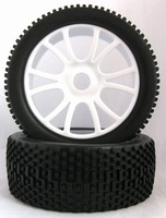 1/8 buggy tires dual 6 spoke wheel and gridiron tire  un-glued