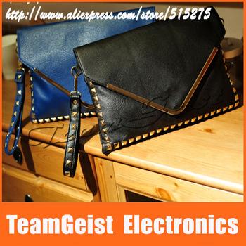 2014 NEW Fashion women's handbag vintage rivet envelope PU Leather bag Stylish Ladies' Brand Handbags shoulder bag Free Shipping