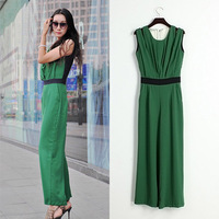 Free Shipping 2013Summer New Women Rompers&jumpers Green Jumpsuit Sleeveless O-Neck pleated wide leg zippered Patchwork Overalls
