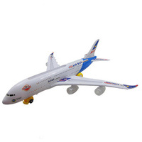 Bus child a380 electric toy model assembled with a flashlight airliner